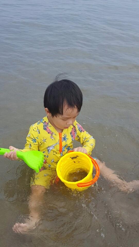 바다에서 모래놀이