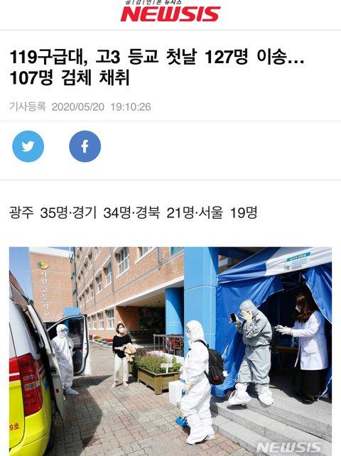 고3 등교 첫날 127명 구급차 이송