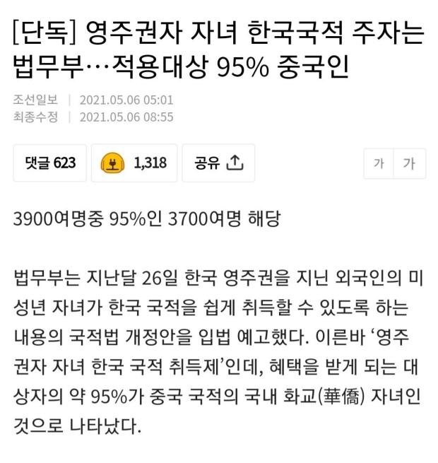 영주권자 자녀 한국국적 취득제?