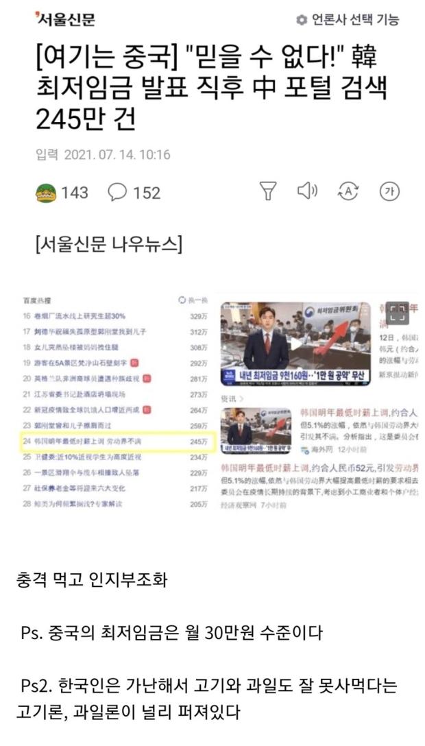 한국 최저임금에 충격먹은 중국